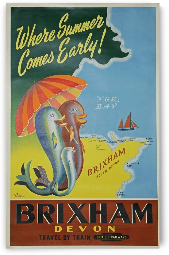British Railways Brixham Devon by VINTAGE POSTER