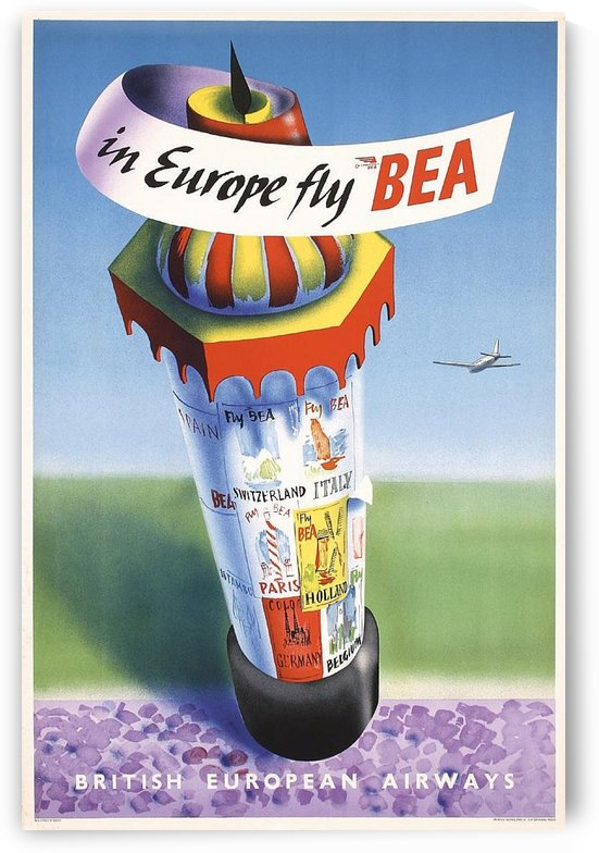 BEA vintage airline poster Europe 1948 by VINTAGE POSTER