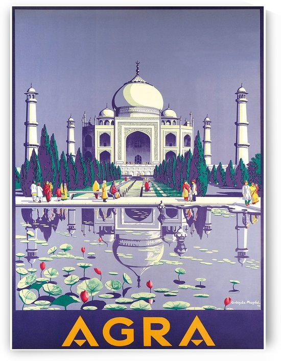 Agra, India - Taj Mahal by VINTAGE POSTER