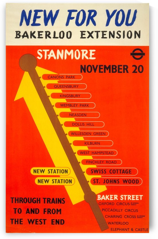 Poster Promoting the Bakerloo Line Extension to Stanmore, 1939 by VINTAGE POSTER