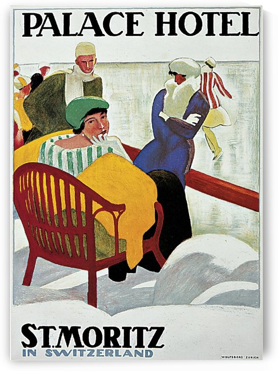 Palace Hotel Saint Moritz in Switzerland, 1947 by VINTAGE POSTER