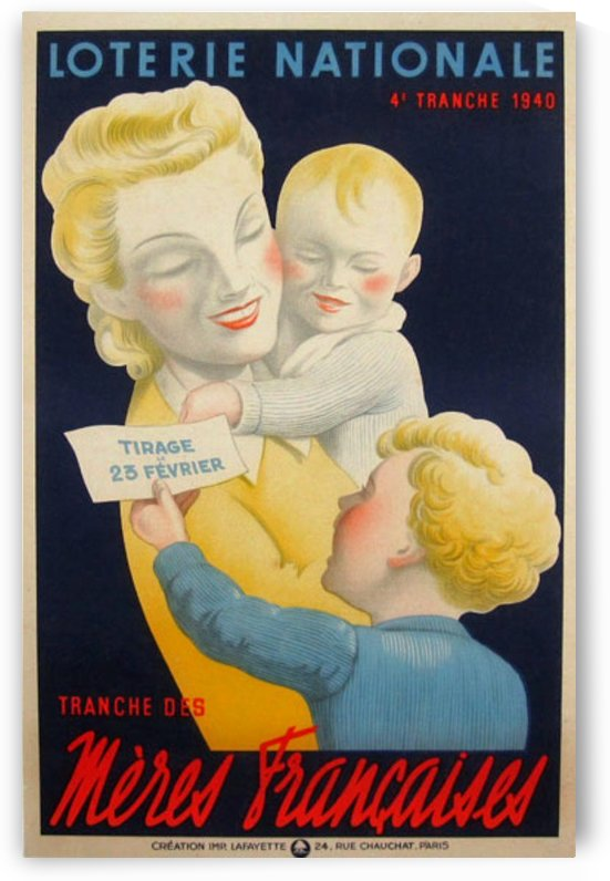 Loterie Nationale Tranche des Meres Francaises by VINTAGE POSTER