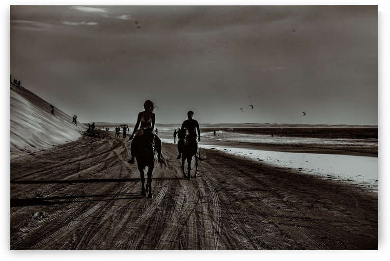 Young Couple Riding Horses at the Beach 2 by Daniel Ferreia Leites Ciccarino