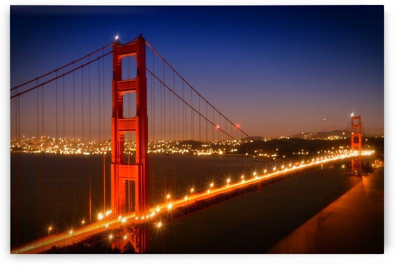 Evening Cityscape of Golden Gate Bridge  by Melanie Viola