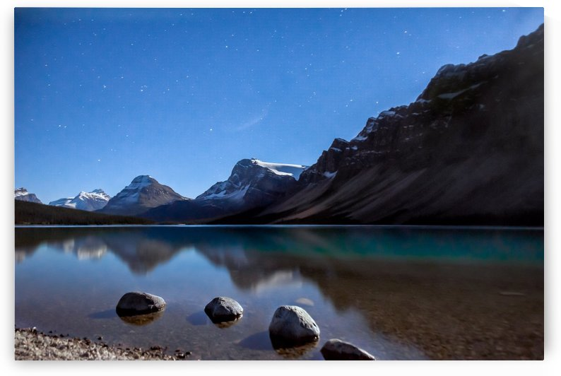 Bow lake under moonlight  by Daydreaming by Nazmul