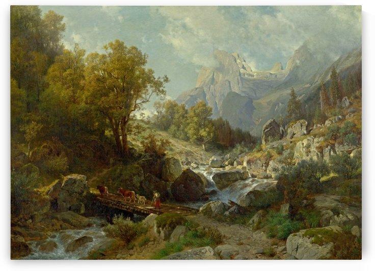 Scene from Ramsau bei Berchtesgaden 1874 by Johann Gottfried Steffan