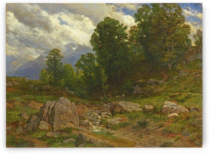 Alp Mit Bach und Ziegenhirt by Johann Gottfried Steffan