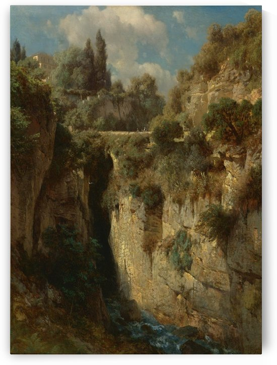 Mountainous landscape with waterfall by Johann Gottfried Steffan