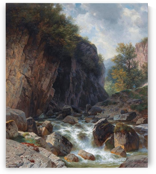 Mountain river by Johann Gottfried Steffan