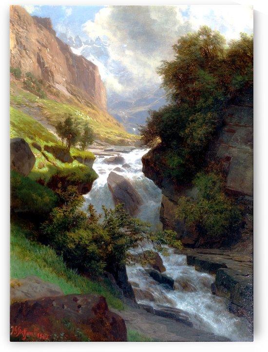 Bergbach in den Schweizer Alpen, 1865 by Johann Gottfried Steffan