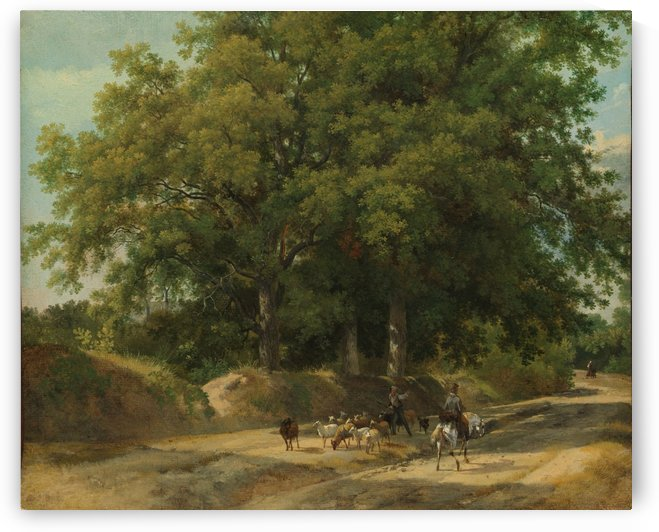 A shepherd and a rider on a country lane by Auguste-Xavier Leprince