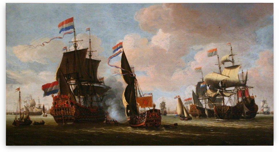 La flotte Hollandaise dans la rade d'Amsterdam by Abraham Storck