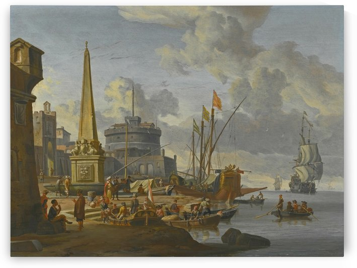 A fortified Mediterranean port with an obelisk and a galley moored nearby by Abraham Storck