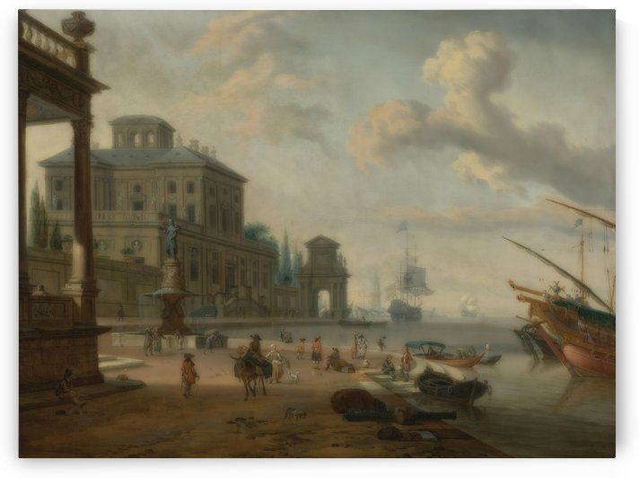 Italianate harbor scene with figures and animals in a grand architectural setting by Abraham Storck