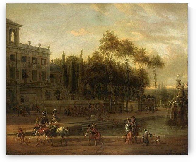 Italianate park landscape by Abraham Storck