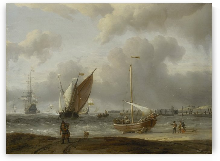 Fishing boats in storm off the Dutch Coast at Den Helder by Abraham Storck