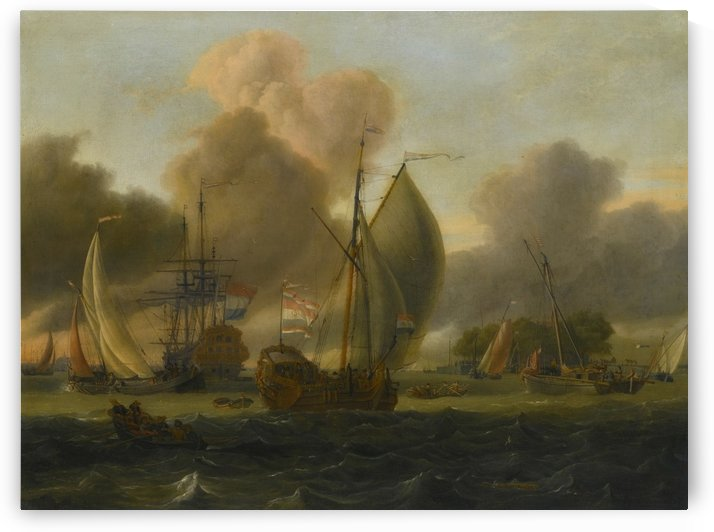 Dutch Man-o-War, a states yacht and other ships in a fresh breeze by Abraham Storck