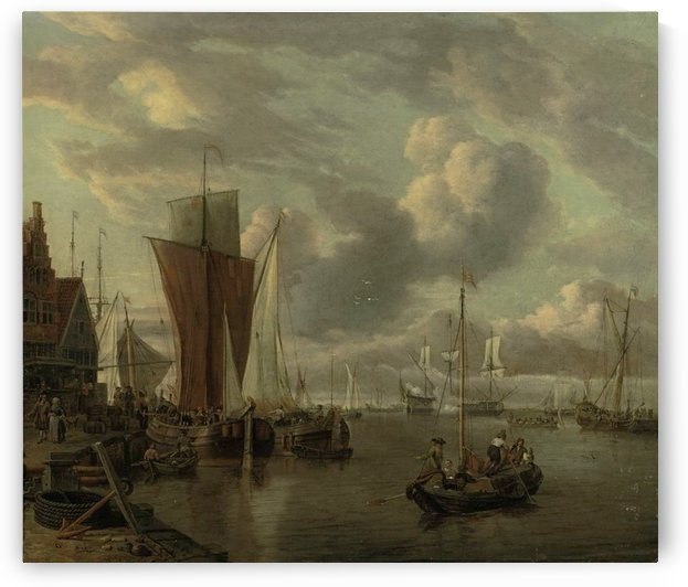 Quayside with extensive shipping by Abraham Storck
