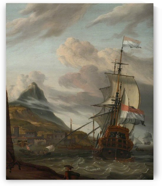 A Dutch ship entering a Mediterranean port by Abraham Storck