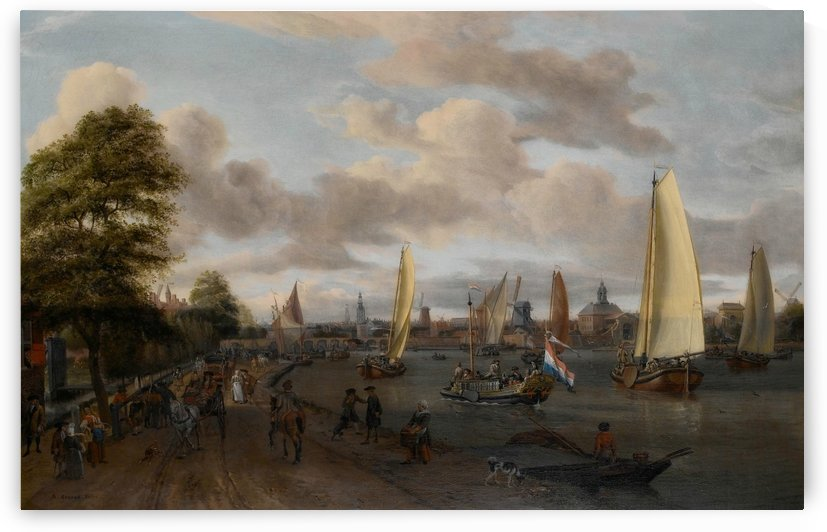 The river Buiten-Amstel with a trekschuit and other shipping by Abraham Storck
