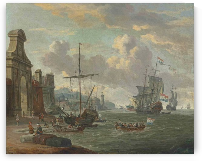 A Mediterranean harbour with stevedores loading ships by a city gate by Abraham Storck