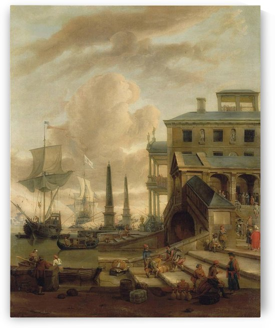 A capriccio of a Mediterranean harbour with stevedores, orientals and elegant figures, with ships beyond by Abraham Storck