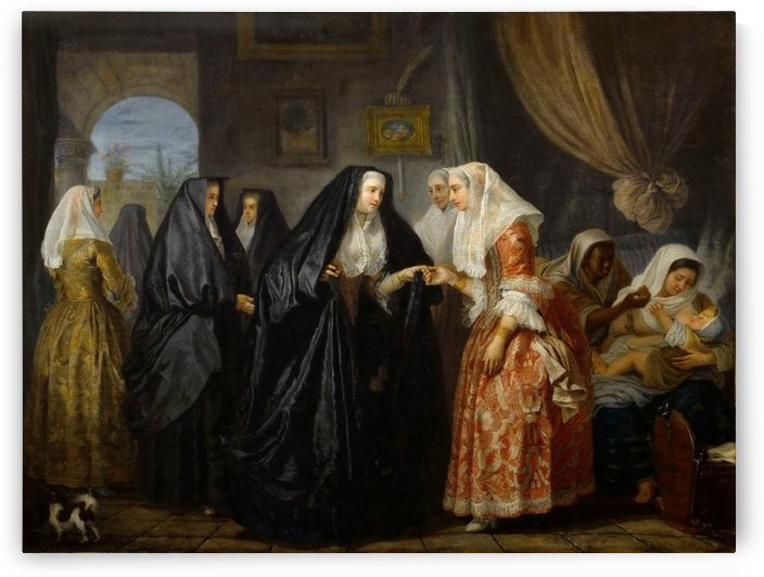 Maltese ladies paying a visit by Antoine de Favray