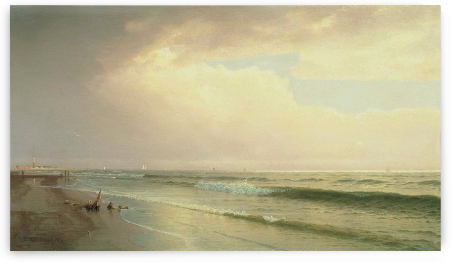 Seascape with distant lighthouse, Atlantic City, New Jersey by William Trost Richards