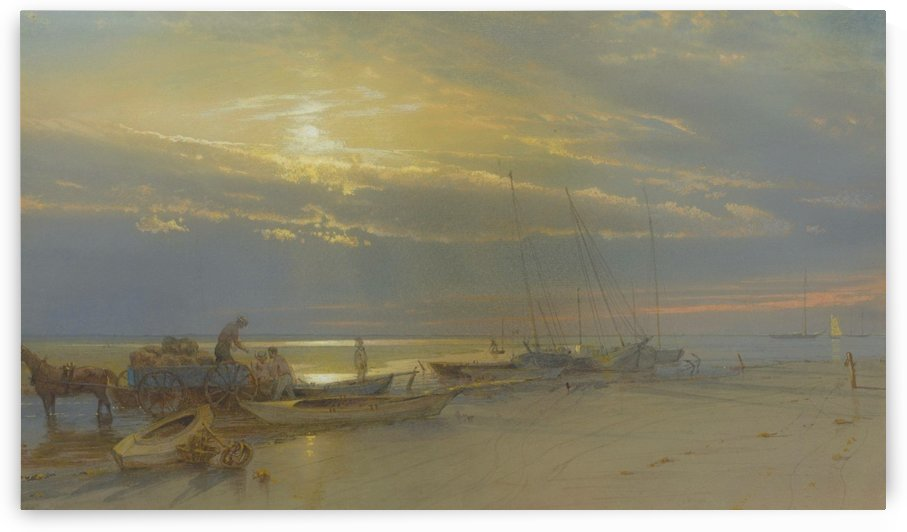 Sea view with figures and boats by William Trost Richards
