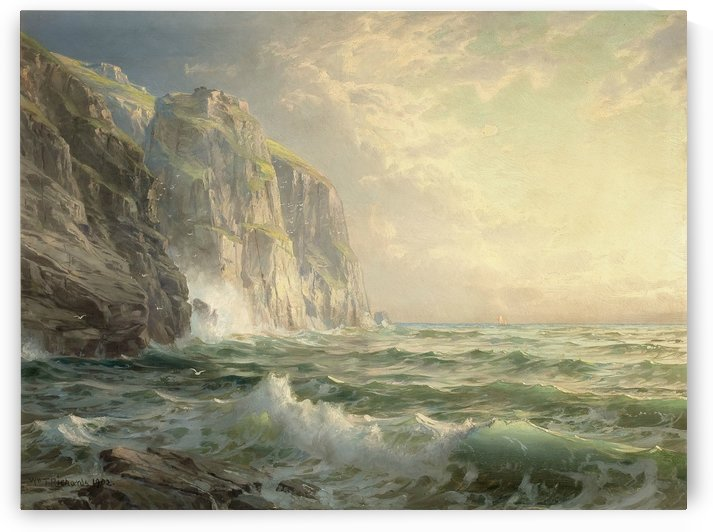 Rocky cliff with stormy sea by William Trost Richards