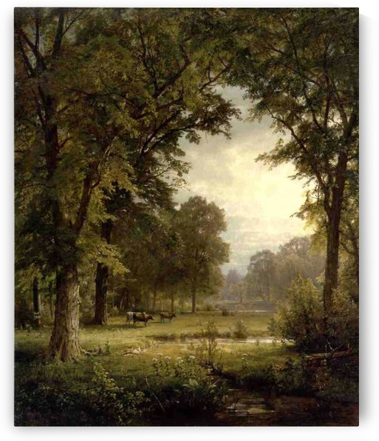 Landscape with trees and cows in the back by William Trost Richards