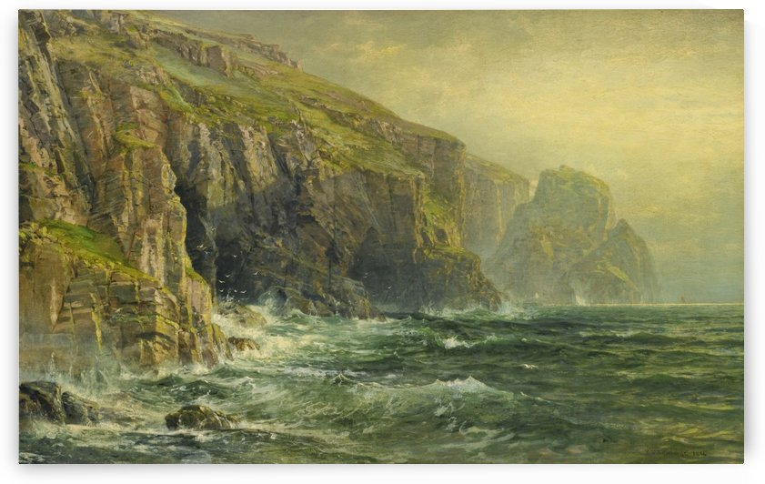 Cliffs and waves by William Trost Richards