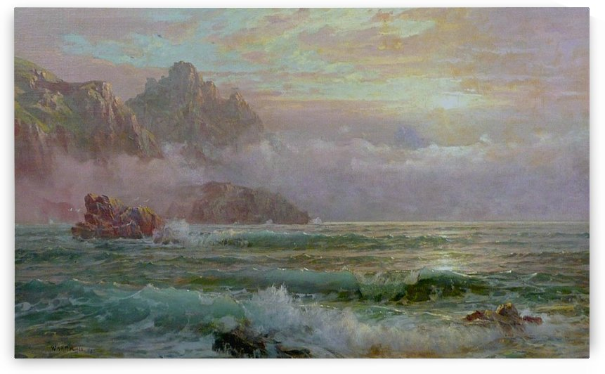 Landscape with cliffs going in to the sea by William Trost Richards