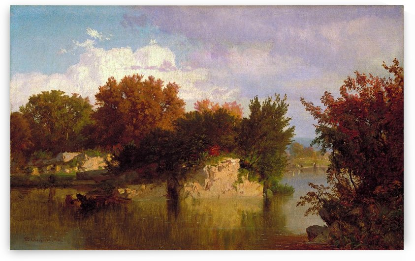 Trees along stream in fall by William Trost Richards