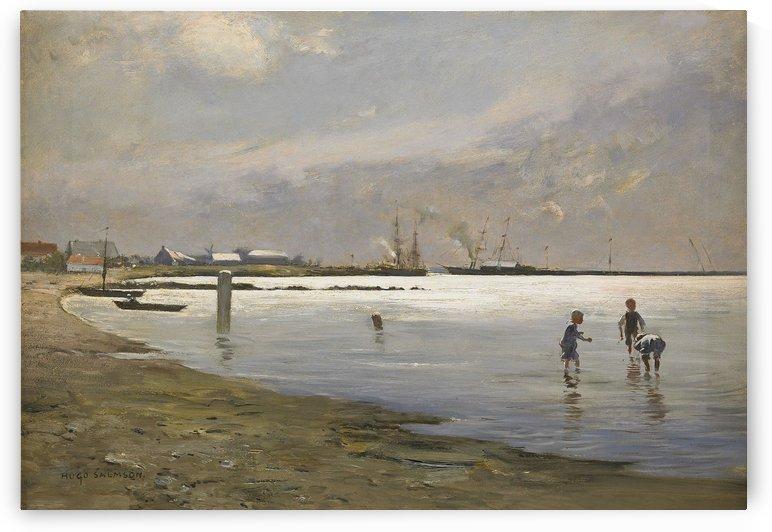 Lekande pojkar i vattenbrynet by Hugo Salmson
