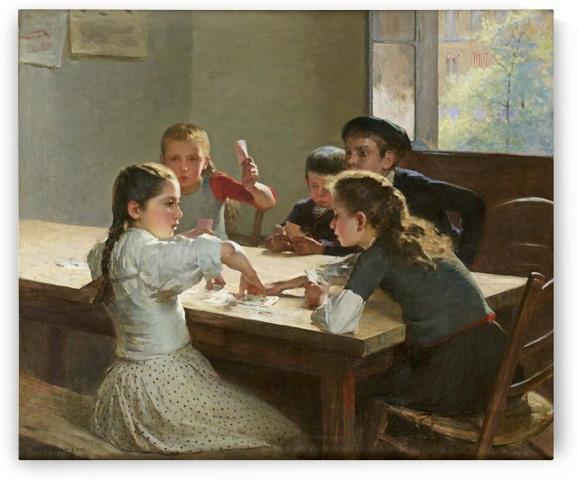 Interior with children playing cards by Hugo Salmson