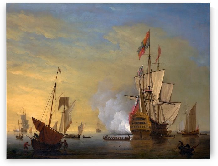 An English ship with sails loosened firing a Gun by Peter Monamy