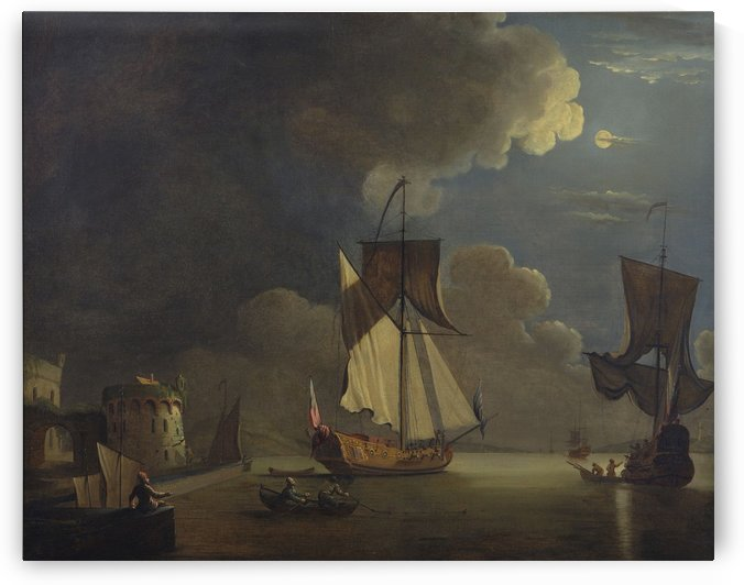 An Admiralty yacht off a fortified port by moonlight 1700 by Peter Monamy