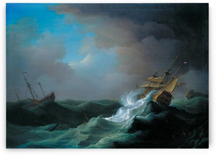 Ships in distress in a storm by Peter Monamy