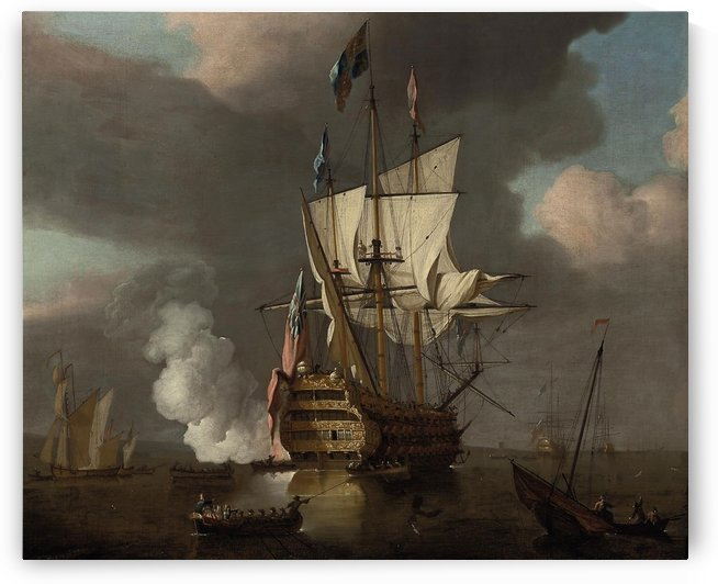 The flagship Royal Sovereign saluting at the Nore by Peter Monamy