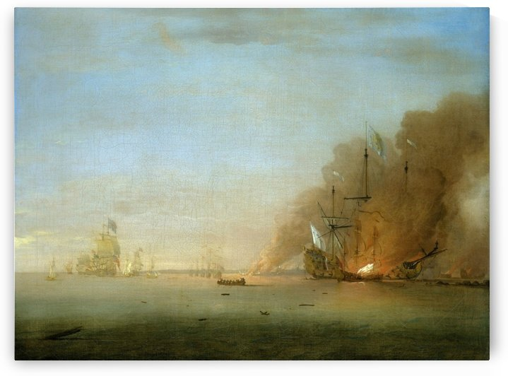 Destruction of the Soleil Royal at the Battle of La Hogue, 23 May 1692 by Peter Monamy