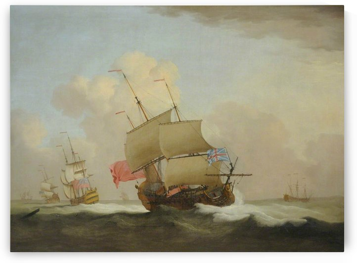 Man o' War at Sea, HMS Lion and Others by Peter Monamy