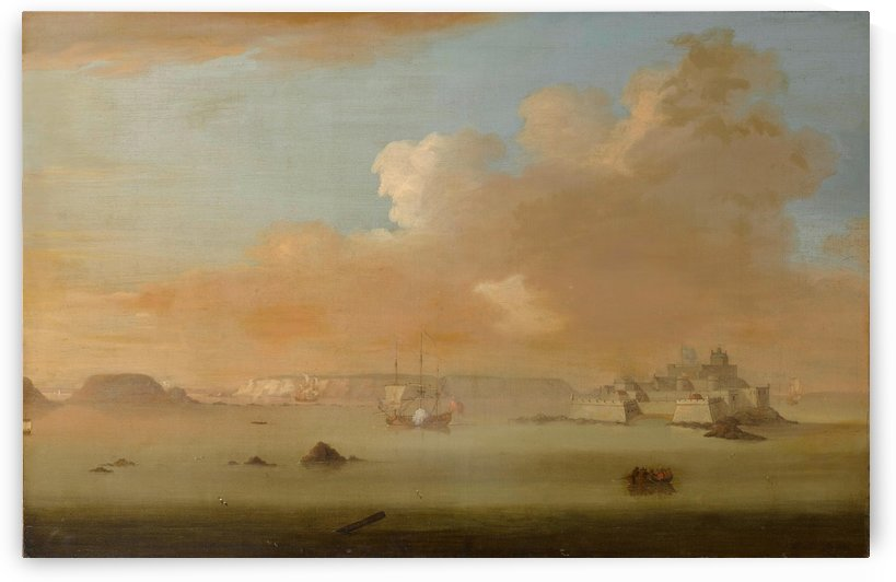 Castle Cornet, off St. Peter Port at high tide by Peter Monamy
