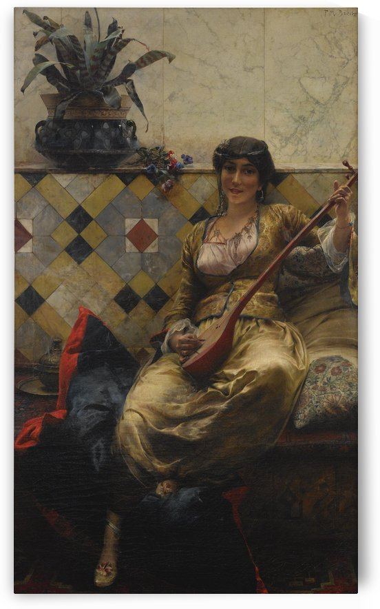 Girl with mandolin by Ferdinand Max Bredt