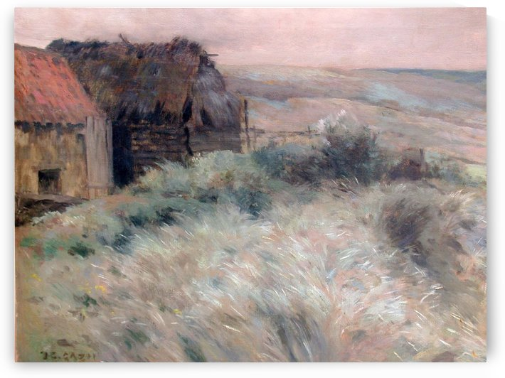 Two houses on a field by Jean Charles Cazin