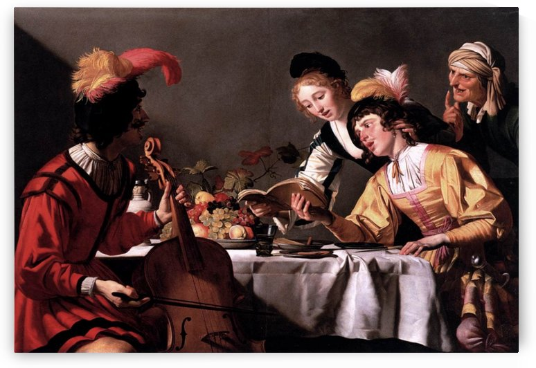 People reading and playing music by Gerrit van Honthorst