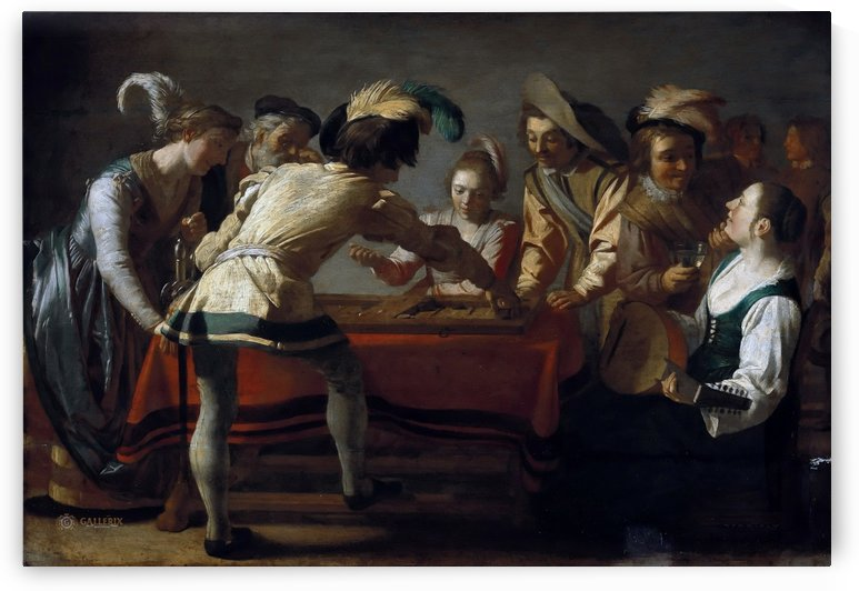 People playing chekers by Gerrit van Honthorst