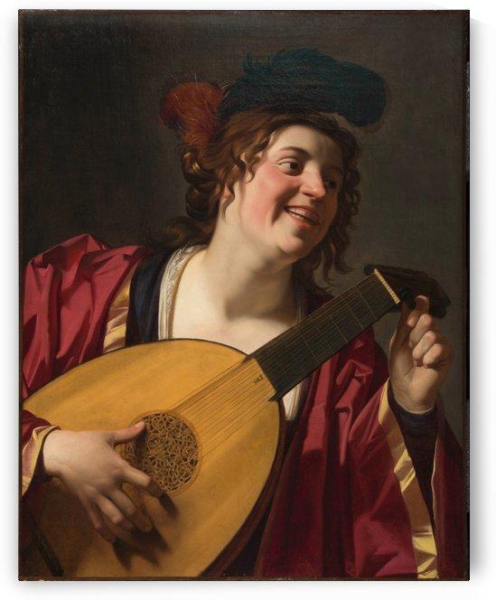 Woman Tuning a Lute by Gerrit van Honthorst