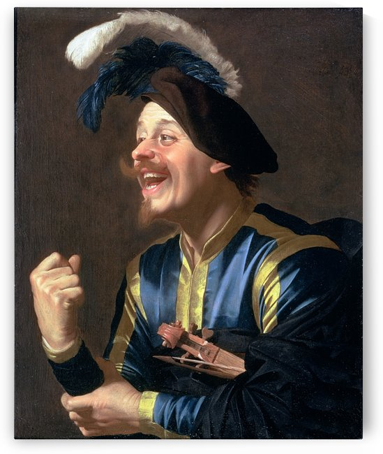 Portrait of a Laughing Violinist by Gerrit van Honthorst