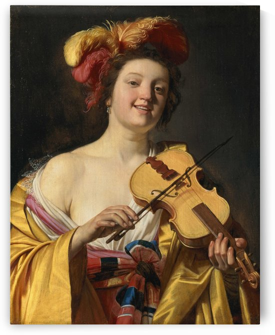 Woman playing the violin by Gerrit van Honthorst